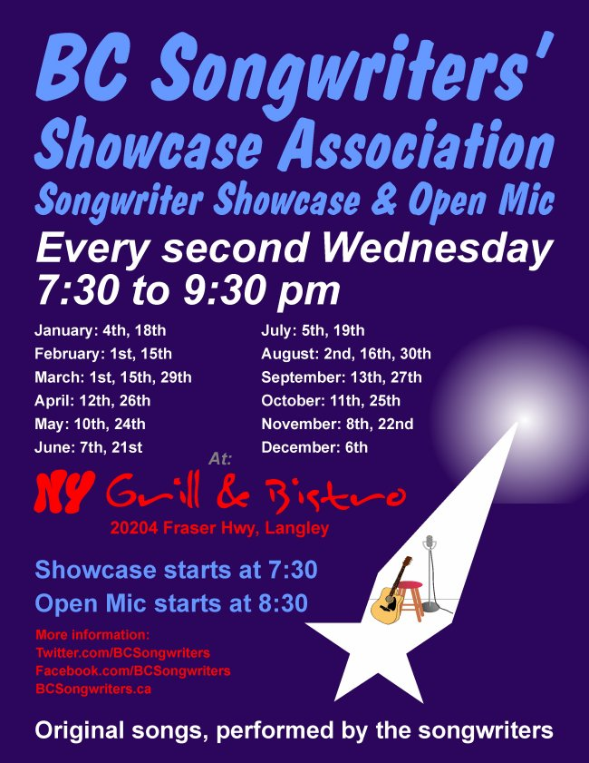 BC Songwriters Showcase & Open Mic - 2017 Dates - BCSongwriters.ca