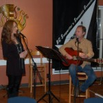LaRaine introducing Dave Mercer, at the start of Open Mic, at the BC Songwriters' Showcase - in Langley, BC