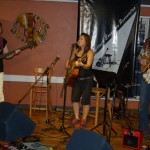 Three of the members of Lotus Band: (left to right) Terri Breeze, Feona Lim & John Haynes... playing at the BC Songwriters' Open Mic