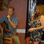 LaRaine introducing Dave Mercer, at the BC Songwriters Showcase, at NY Grill & Bistro, Langley