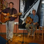 Dan Beer, accompanied by Dave Mercer (right), playing the BC Songwriters Showcase Open Mic