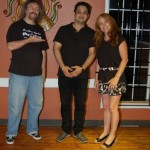 Bob the Sound Guy, and LaRaine the MC, thanking Mani (centre) from NY Grill & Bistro, for another fun evening