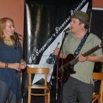 LaRaine and Earl Travis Taylor talking about Earl's recording for his upcoming CD release — at BC Songwriters' Showcase Association.