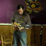 John Haynes - accompanying Feona Lim - at the BC Songwriters' Open Mic