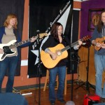 Feona Lim, accompanied by Lotus Band bandmates Terri Breeze and John Haynes, performing at the BC Songwriters' Open Mic - BCSongwriters.ca