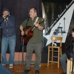 Earl Travis Taylor, accompanied by Smoky (l) and Tricia Dunphy (r), playing the BC Songwriters' Open Mic