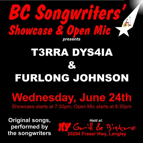 T3RRA DYS4IA & FURLONG JOHNSON - June 24th Songwriter Showcase - BCSongwriters.ca