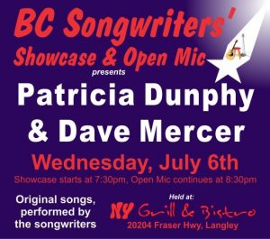 BC Songwriters present Patricia Dunphy & Dave Mercer in the Songwriter Showcase - BCSongwriters.ca