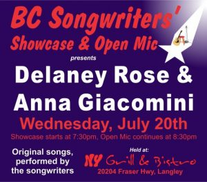 BCS - Showcase Performers - Delaney Rose & Anna Giacomini - BCSongwriters.ca