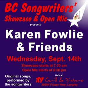 Karen Fowlie & Friends performing at the BC Songwriters' Showcase - BCSongwriters.ca