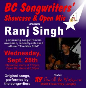 Ranj Singh - Performing at the BC Songwriters' Showcase - BCSongwriters.ca