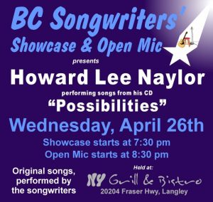 "Howard Lee Naylor - performing songs from his CD ""Possibilities"" - BCSongwriters.ca"