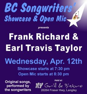 Frank Richard & Earl Travis Taylor - Songwriter Showcase - BCSongwriters.ca