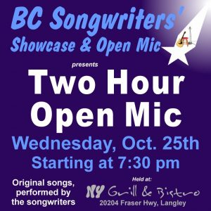 Two Hour Open Mic - BC Songwriters - BCSSA - BCSongwriters.ca