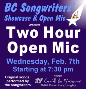 BC Songwriters' Two Hour Open Mic - BCSongwriters.ca