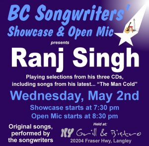 Ranj Singh - Featured Performer - BC Songwriters' Showcase - BCSongwriters.ca