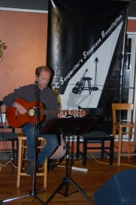 Dave Mercer, performing at the BC Songwriters' Showcase Open Mic in Langley