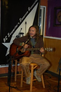 Jamie Zago performing at the BC Songwriters Open Mic in Langley