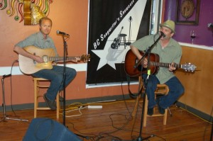 Dave Mercer & Earl Travis Taylor swapping tunes, at the BC Songwriters' Showcase Association, in Langley