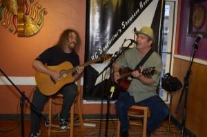 Bob Batyi (AKA Bob the Sound Guy) accompanying Earl Travis Taylor, at the BC Songwriters' Two Hour Jam