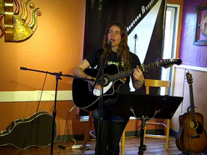 Amanda Marino, being featured at the BC Songwriters' Showcase Association's Songwriter Showcase, in Langley