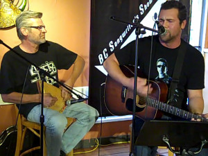 John & Eric, performing at the BC Songwriters' Open Mic in Langley