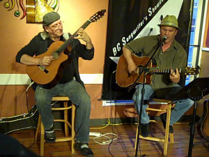 Earl Travis Taylor, accompanied by Frank Tacek, (left), playing at the BC Songwriters' Open Mic, in Langley
