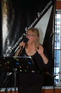 """Susanne Tryphena of """"The Flying Ritas"""", playing at the BC Songwriters' Showcase"""
