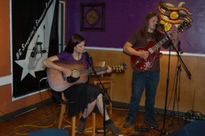 Sara Bean & Kevin Wellman (performing as Peace Of Earth) closed out the evening, at the BC Songwriters' Open Mic