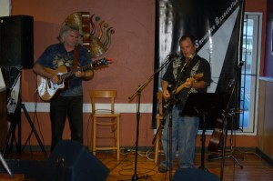 Earl Travis Taylor (accompanied by Will Firstbrook, left) kicked off the Open Mic portion of the evening, at BC Songwriters