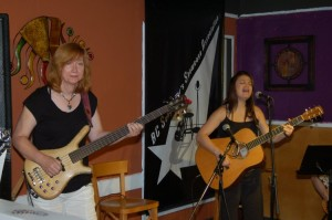 Terri Breeze & Feona Lim of Lotus Band... playing at the BC Songwriters' Open Mic