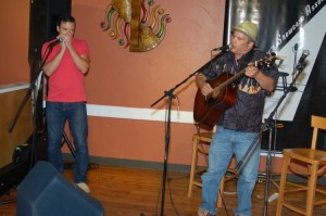 Earl Travis Taylor (accompanied by Pascal Bergeron, left) playing the BC Songwriters' Open Mic, in Langley