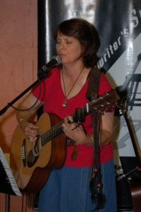Tricia Dunphy playing the BC Songwriters' Open Mic, in Langley