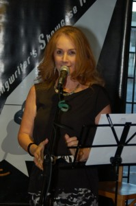 LaRaine introducing the Open Mic performances at BC Songwriters' Showcase in Langley