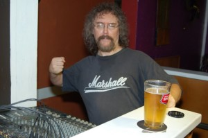 Bob the Sound Guy, showcasing his fantastic 'Marshall' shirt, at the BC Songwriters' Showcase & Open Mic, in Langley