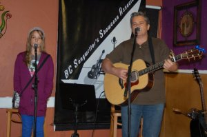 Cornel Dyke, accompanied by daughter Vienna, playing some of his great songs, at the BC Songwriters' Open Mic