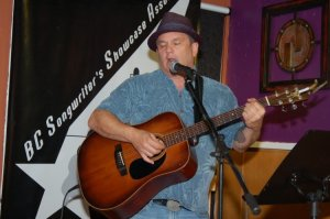 Earl Travis Taylor, performing at the BC Songwriters' Open Mic in Langley