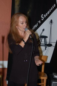 LaRaine introducing Showcase performers, at the BC Songwriters Showcase & Open Mic