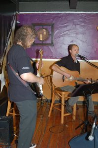 Dave Mercer (accompanied by Bob Batyi) playing the BC Songwriters' Open Mic