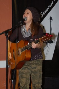 Feona Lim (accompanied by Terri Breeze and John Haynes) performing at the BC Songwriters' Open Mic, in Langley - BCSongwriters.ca