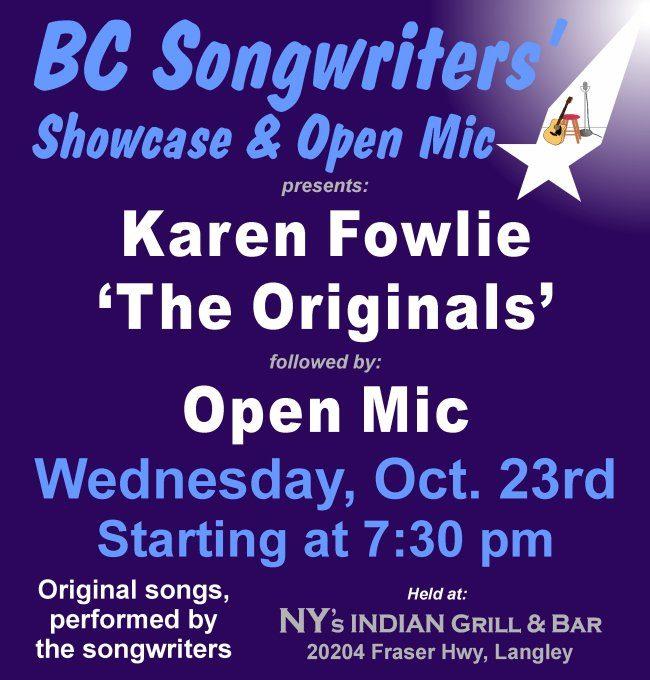 BC Songwriters Showcase - Karen Fowlie & The Originals Band - BCSongwriters.ca
