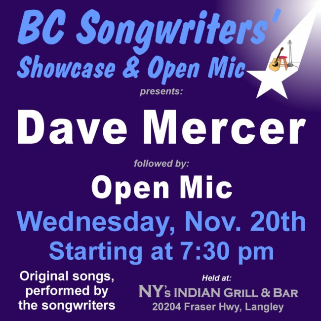 BC Songwriters Showcase & OPen Mic presents Dave Mercer - BCSongwriters.ca